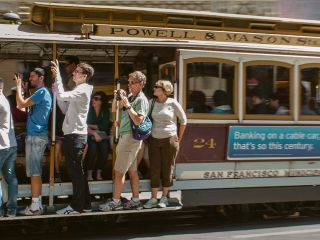 San Francisco cable car with passengers