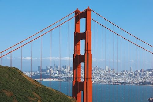 The Golden Gate Bridge and the San Francisco skyline